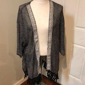 Black cream geometric tribal boho kimono top